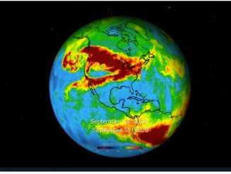"A three-day average of carbon monoxide concentrations over California due to wildfires. Higher concentrations of the gas appear as red and orange regions.Source: NASA/JPL-Caltech ""Eyes on the Earth"""