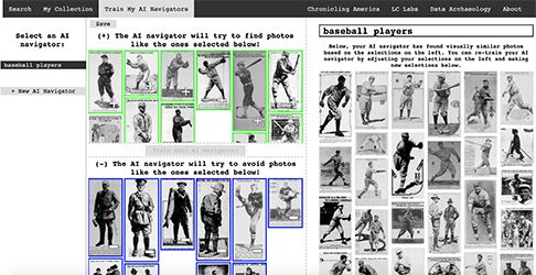 """A screenshot of the new Newspaper Navigator tool shows an image search for """"baseball players."""" Source: Library of Congress"""