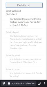 Example of BallotTrax notifications for ballots by mail. Source: Rhiannon Fionn-Bowman