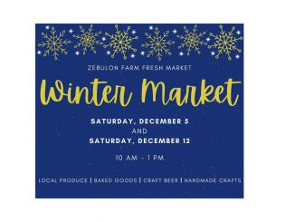 "Zebulon Farm Fresh Market ""Winter Market"" is December 5 and 12, 2020. Source: Town of Zebulon Parks and Rec, North Carolina"