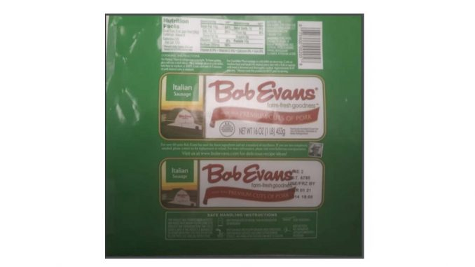 One of the pork sausage labels released with the recall. Source: USDA Food Safety and Inspection Service