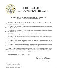 Proclamation of the Town of Knightdale recognizing and honoring Odell William Strickland. Source: Jonas Silver, Town of Knightdale