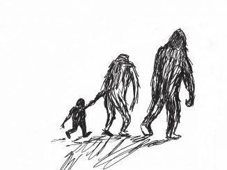 "A bigfoot family. Sketch by Donna Campbell Smith, author of ""My Neighbors from the Woods"""