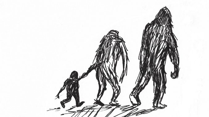"""A bigfoot family. Sketch by Donna Campbell Smith, author of """"My Neighbors from the Woods"""""""