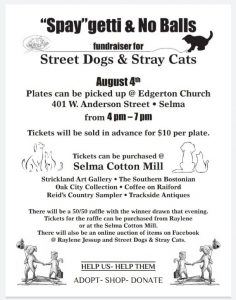 Street Dogs & Stray Cats 2021 Fundraiser Spaghetti Plate Sale. Source: Shell Cole