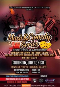 Live Music & Comedy Series: The Best of Blues, R&B and Soul Music is July 17, 2021. Source: Marilyn Bryant Tucker
