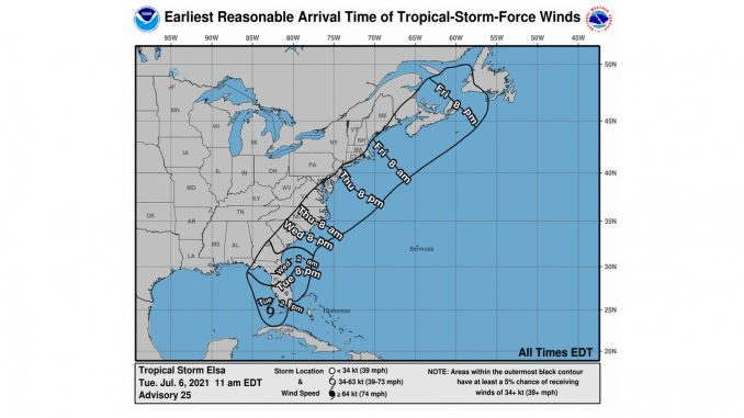 Tropical Storm Elsa possible wind arrival times. Source: US National Hurricane Center