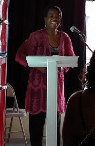 Barbara Coston of Winterville, NC at a recent Selma Open Mic event. Source: Johnston County Writers Group