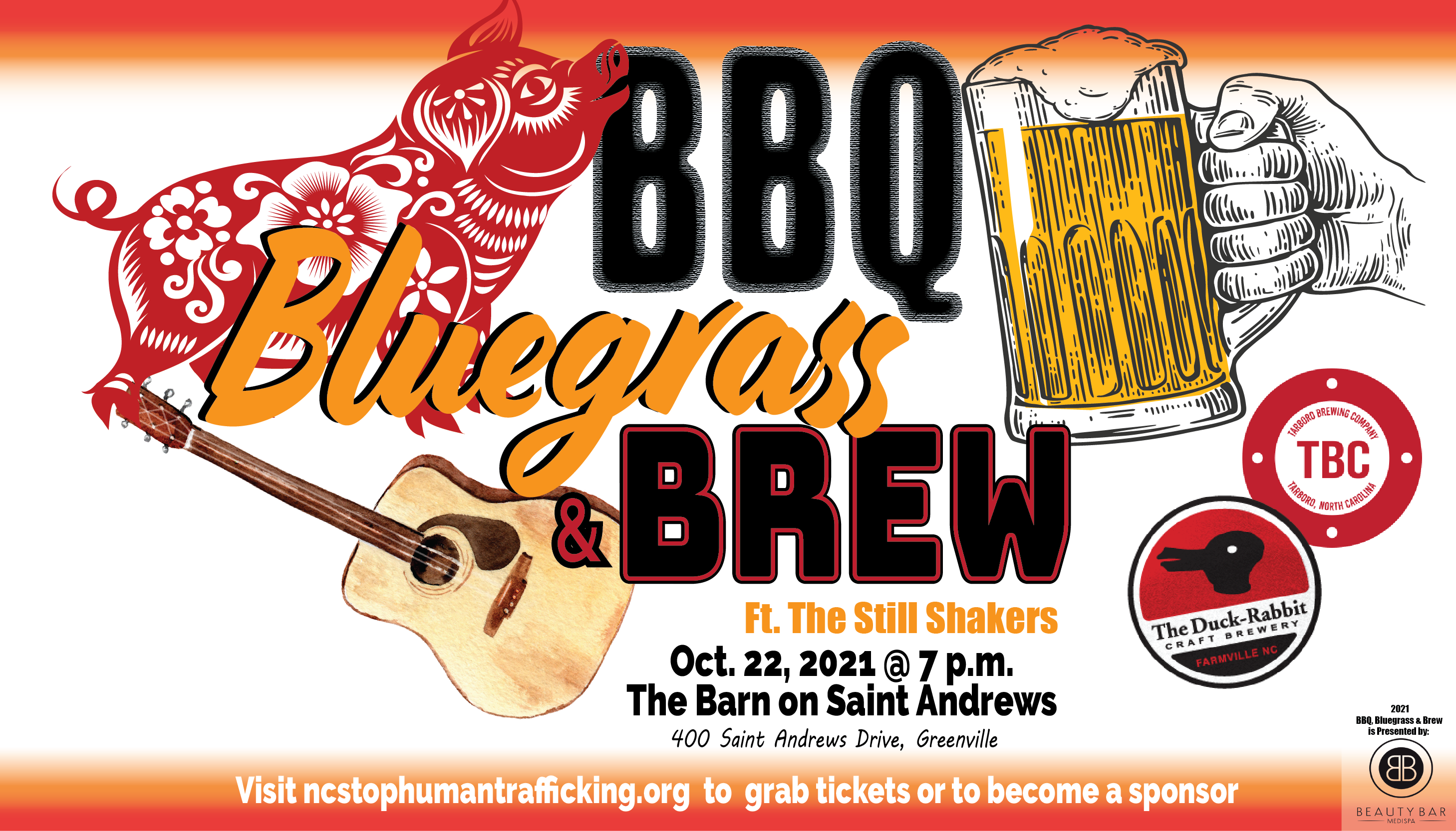 BBQ, Bluegrass and Brew 2021 event flyer NC Stop Human Trafficking