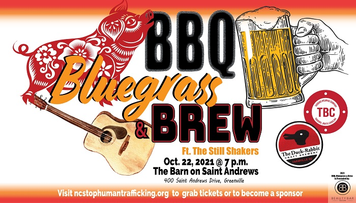 BBQ, Bluegrass and Brew 2021 event flyer NC Stop Human Trafficking 2