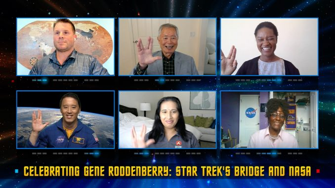 Rod Roddenberry, top left, George Takei, Tracy Drain, Jonny Kim, bottom left, Swati Mohan, and Hortense Diggs participate in a panel discussion as part of the program Celebrating Gene Roddenberry: Star Trek's Bridge and NASA. Credits: NASA