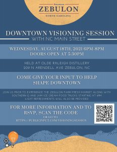 Downtown Visioning Session flyer. Source: Teresa Piner, Town of Zebulon, NC