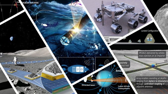 Illustrations of the projects that were selected for Phase I of the 2021 NASA Innovative Advanced Concepts (NIAC) program. Source: NASA