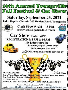 Youngsville Fall Festival and Car Show 2021 flyer. Source: YFF