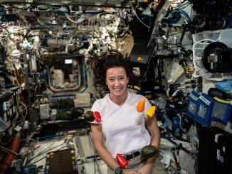 NASA astronaut Megan McArthur enjoys fresh food on the International Space Station. Credit: NASA